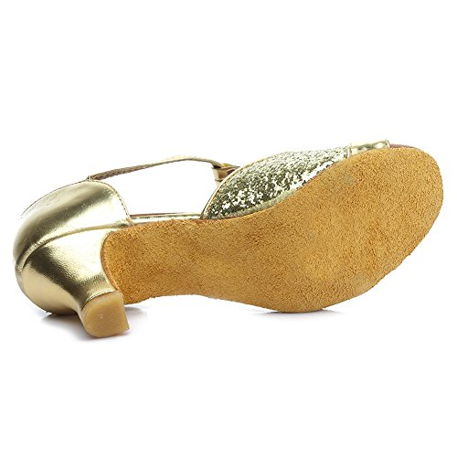 HROYL femenino ES7-F59 sat¨ªn latino la danza el zapato 5CM Oro