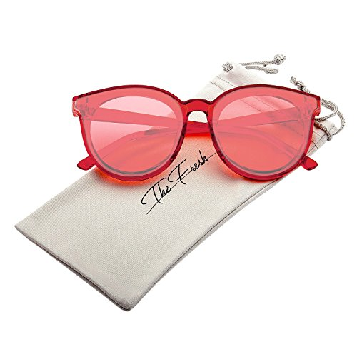 The Fresh Modern Crystal Frame Colored Flat Lens Horn Rimmed Sunglasses with Gift Box (Crystal Red, - Sunglasses Red Round Clear All