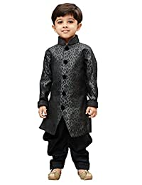 VASTRAMAY JBN Creation Boys' Grey Silk Blend Sherwani Style Kurta Set(VASBSW122)