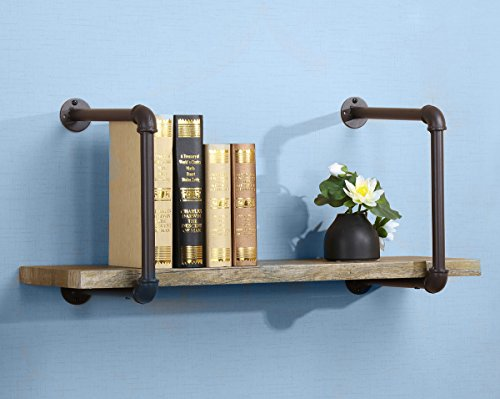 O&K Furniture 31 Inch Industrial Pipe Shelves Wall Mounted, Rustic Floating Wall Shelf with Metal Pipe Frame,Vintage Green Golden Bronze Accent