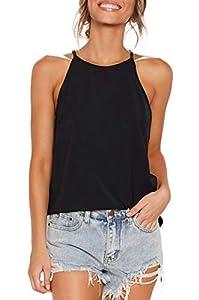LouKeith Womens Tops Sleeveless Halter Racerback Summer Casual Shirts Basic Tee Shirts Cami Tank Tops Beach Blouses