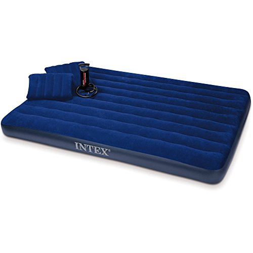 Intex Queen 8.75 Classic Downy Airbed Mattress with Combo Pump and two pillows