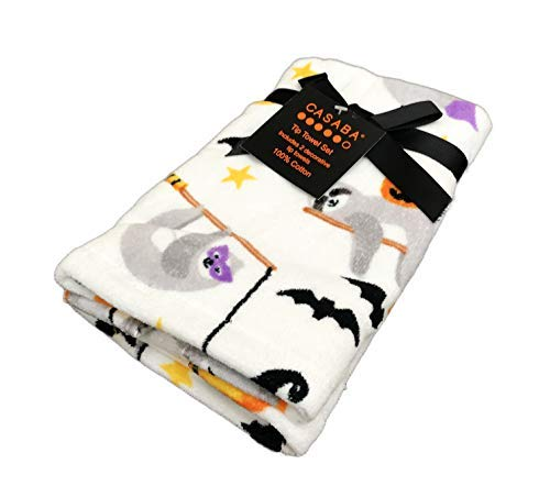 Festive Happy Halloween Cute Sloth Witches Flying on Broomsticks in Costume Novelty Set of Two Holiday Bathroom Towel Set (Finger Tip Towel)