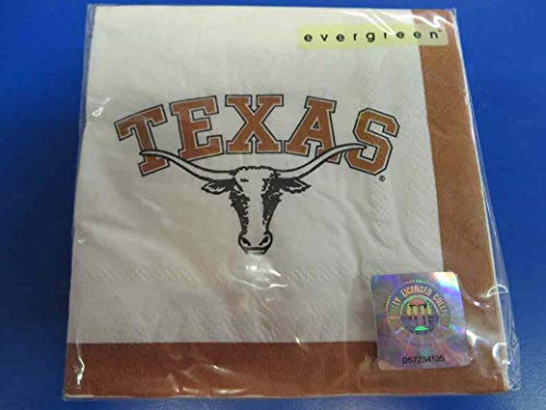 Texas Longhorns NCAA Napkins Football Game Day Sports Themed College University Party Supply Napkins for Beverage for 20 Guests Brown White Color Paper Napkins