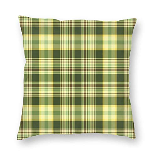 K0k2to Olive Green Throw Pillow Cushion Cover,Quilt Pattern Traditional Scottish Design Checkered Geometrical,Decorative Square Accent Pillow Case