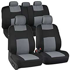 "Add A Layer of Comfort & Protection - Package Includes Seat Covers for Front Driver & Passenger Seats, Rear Bench Cover. Premium ""Rome"" Cloth Material - Feels Like Neoprene. Made for seats w/ Detachable Headrests. Double Stitched Seam..."