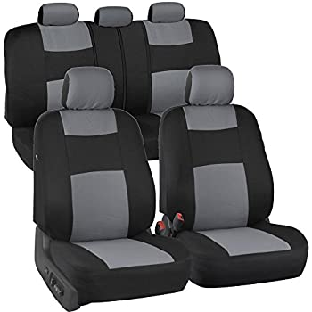 BDK PolyCloth Black Light Gray Car Seat Cover Easy Wrap Two Tone Accent For Auto