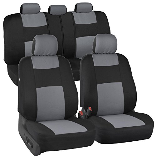 Decorative Car Seat Covers (BDK PolyCloth Black/Light Gray Car Seat Cover (Easy Wrap Two-Tone Accent for Auto))