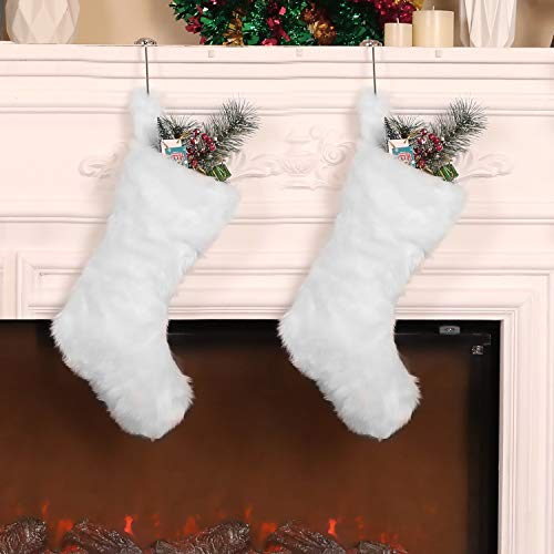 Pangda 2 Pieces 20 inch Christmas Stocking Faux Fur Stocking Snowy White Stocking for Xmas Family Party Decoration