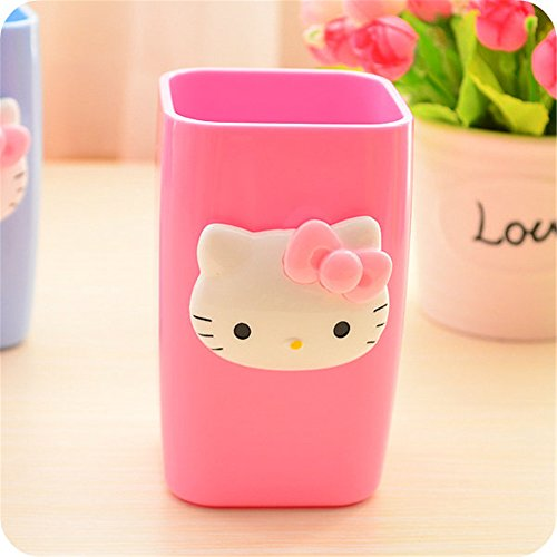 Hello Kitty Room Accessories - YOURNELO Cartoon Adorable Simple Cute Hello Kitty Bathroom Accessories Toothbrush Holder&Tumbler (Pink)