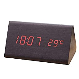 Smileto Mini Triangle Wood Style Grain Thermometer Touch Sound Activated Desk LED Digital Alarm Clock (Black case Red light)