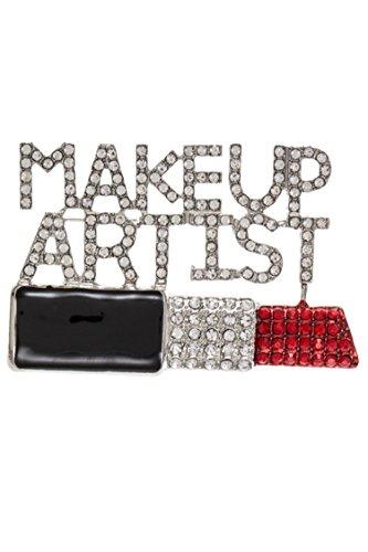 Trendy Fashion Jewelry Encrusted Rhinestone Lipstick MAKEUP ARTIST Brooch By Fashion Destination | (Makeup Brooch)