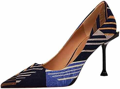 SUNETEDANCE Pumps Shoes Women Slip On Comfort Classic Heels Office Business High Heels Pointed Toe Stiletto 8CM Heel Shoes Suede Navy Pump 9.5 M US