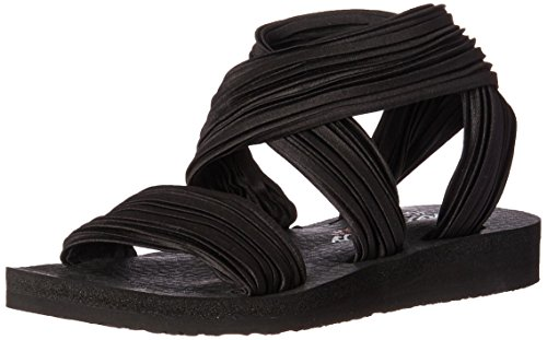 Skechers Cali Women's Meditation-Still Sky Flat Sandal,black,9 M US