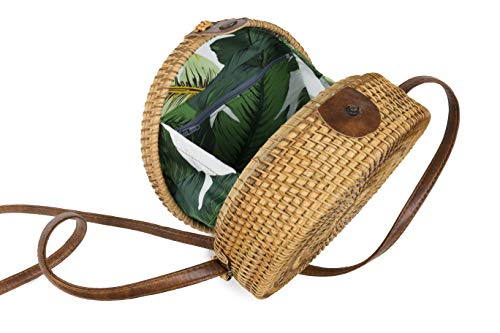 Crossbody Round Bali Handwoven Bag Tropical Print Rattan Boho Bag EE1qrxTwH