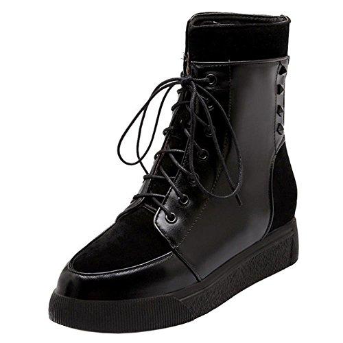 COOLCEPT Women Fashion Platform Lace Up Ankle Martin Boots Black DoAzhaX