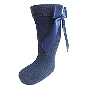 Baby Girls Infants Ribbed Knee Length Socks W Stitched Bow from NB to 18 Months S41 (18-24 Months, Navy Blue)