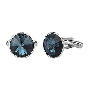 Stylepotion Executive Office Big Sapphire Blue Swarovksi Crystal Silver Rhodium Plated Stylish Cufflinks Set for Men
