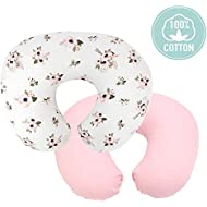 TILLYOU Large Zipper Nursing Pillow Cover, Luxury Egyptian Cotton Soft Feeding Pillow Slipcovers for Baby Girls Boys, Fits Standard Infant Support Pillows Positioners, Lt Pink & Floral