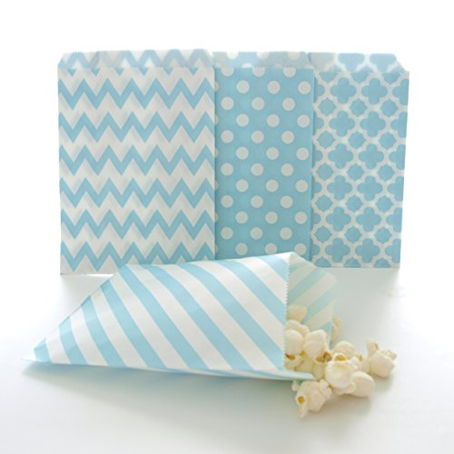 Light Blue Wedding Supply Favor Bags (100 Pack) - Party Goodie Sacks, Scoop Candy Buffet Treats or Toys in Birthday or Baby Shower Loot (Candy Treat Ideas)