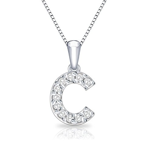 Diamond Initial Pendant Necklace (Diamond Initial C Pendant Necklace in 14k White Gold (1/10 cttw) 18
