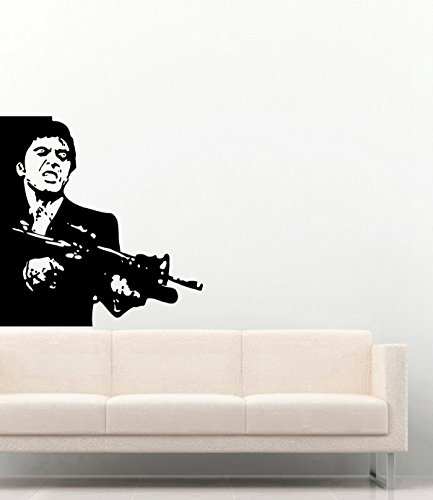 (Tony Montana with Gun Vinyl Wall Decals Scarface Vinyl Stickers Murals MK6175)