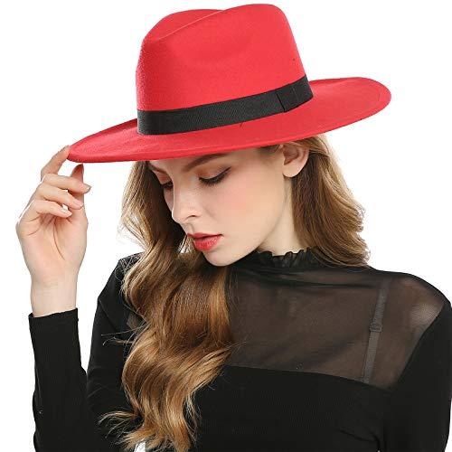 Cap San Diego Halloween Party (HAIMEIKANG Women's Faux Wool Felt Fedora Hat Wide Brim Derby Church Party Panama Winter Hats)