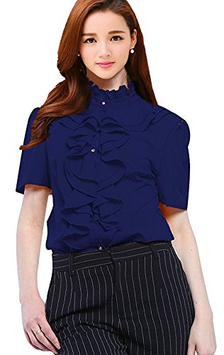 (Womens Short Sleeve Ruffle High Neck Pleated Button Down Blouse Tops Shirts Navy 2XL)