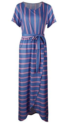 Lange rtel G Boho Maxi Kurze rmel Kleid Streifen Frauen Blau Jaycargogo Mit qFw7OO