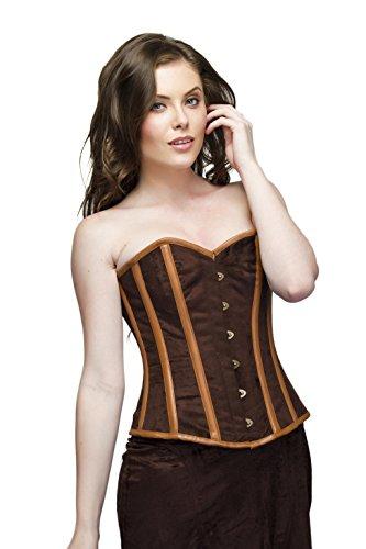 からに変化する隣接する発見Brown Velvet Leather Strips Steampunk Waist Training Bustier Overbust Corset Top