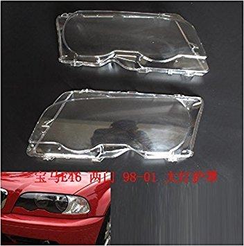 PAIR SP-Auto Headlight Lens Plastic Shell Cover For BMW E46 2002-2005 4-Door