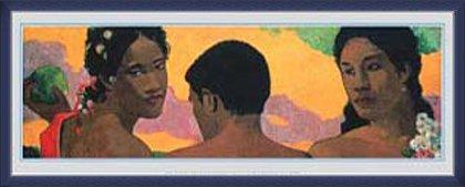 ポスター ポール ゴーギャン 3人のタヒチ人 額装品 ウッドベーシックフレーム(ブルー) B0095MTEB0 ブルー ブルー