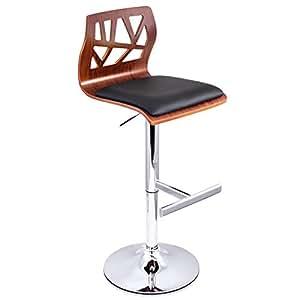 Artiss 2 x Adjustable Bar Stool Swivel Counter Bar Chair Leather Wood Kitchen Dining Stool