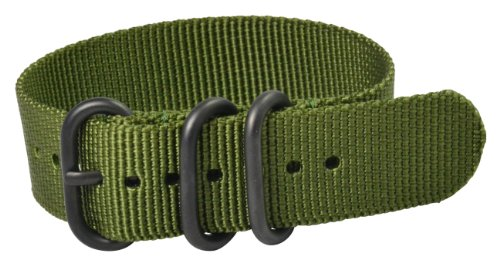 22mm Premium Heavy Nato 3-ring PVD Nylon Green Interchangeable Watch Strap Band