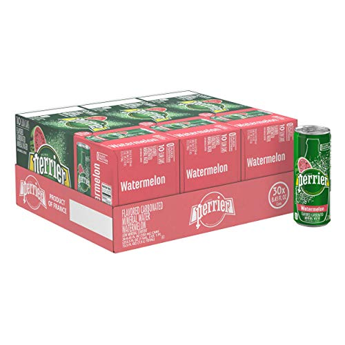 (Perrier Watermelon Flavored Carbonated Mineral Water, 8.45 fl oz. Slim Cans (30 Count))