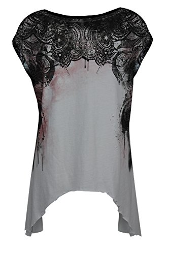 Trueprodigy Casual Mujer Camisetas Estampado Ropa Retro Vintage Rock Diseño Moda Cuello Redondo (Manga Corta Slim Fit) Designer Cool Urban Fashion T-Shirt Black