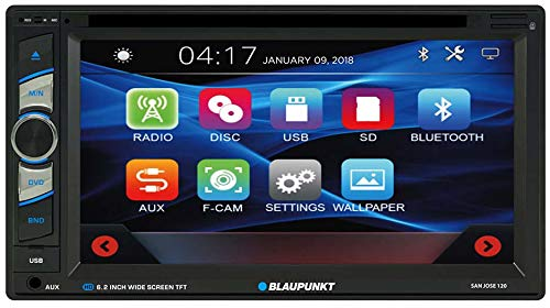 - Blaupunkt SANJOSE 120 6.2-Inch Touch Screen DVD Multimedia Car Stereo Receiver with Bluetooth