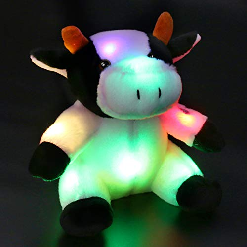 (Bstaofy Glow Dairy Cow Stuffed Animal Light Up Milk Cattle LED Plush Toy Afraid of Dark Birthday Gift for Kids on Christmas Birthday Festival Occasions, 9'' )