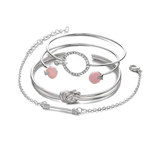 Myhouse Women Girls Bracelets Bohemian Circle Knot Round Bangles Openingbracelet Set, Silver Color