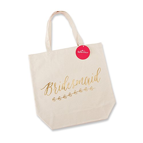 Kate Aspen, Bridesmaid Canvas Tote Bag, Gift for Wedding Party, Gold Foil on (Personalized Tote Bags For Bridesmaids)