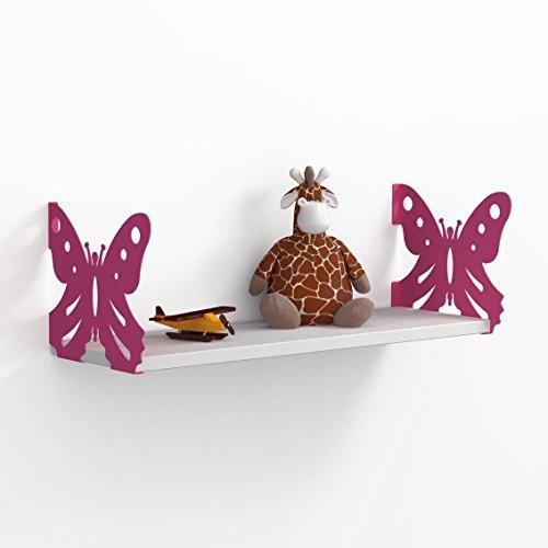 LaModaHome Purple Butterfly White Wall Shelf, 100% Melamine Coated Particle Board - Size (23.6