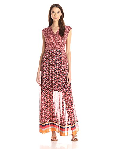Taylor Dresses Women's V Neck Wrap Long Jersey Maxi Wth Chiffon Skirt, Poppy/Tang, 10 by Taylor Dresses