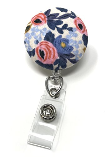 Carolina Street Retractable Badge Reel, Alligator Clip, 32in Nylon Cord, Medical MD RN Nurse Badge ID, Badge Holder, ID Holder, Office Employee Name Badge (Periwinkle Rosa Floral) by Carolina Street
