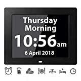 [12 Alarms] Digital Calendar Day Clock Large Reminder Clocks for Memory Loss Elderly Seniors Dementia Sufferers Alzheimers Products Vision Impaired Patients Kids Room (8'' Black)