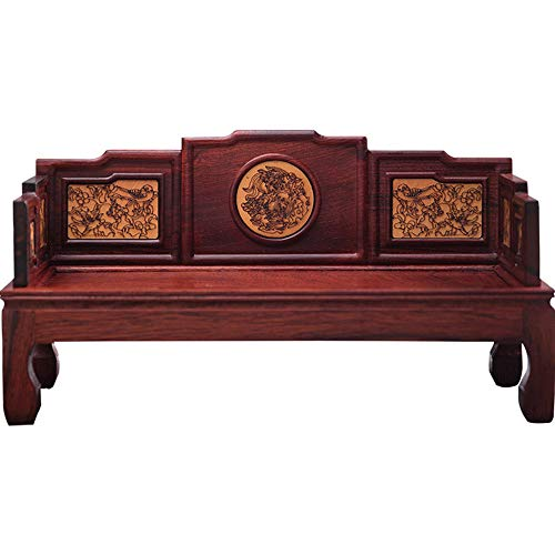 Red Rosewood Embossed Arhat Bed Retroated Yellow Boxwood Miniature Small Furniture Model Redwood Antique Landscape Flower Elegant Life Reflects Your Life Taste,S ()