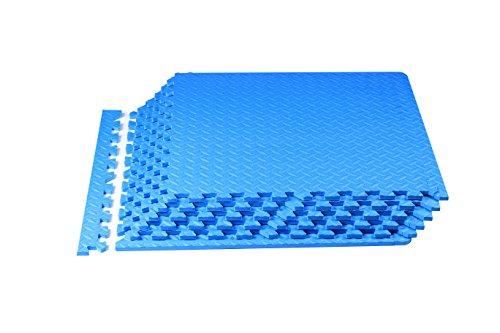 Spoga Foam Exercise Mat EVA with Interlocking Tiles, Blue Border Texture Square Plates