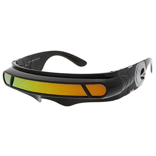 sunglassLA - Futuristic Cyclops Shield Colored Mirror Mono Lens Wrap Sunglasses 147mm (Black / Orange ()