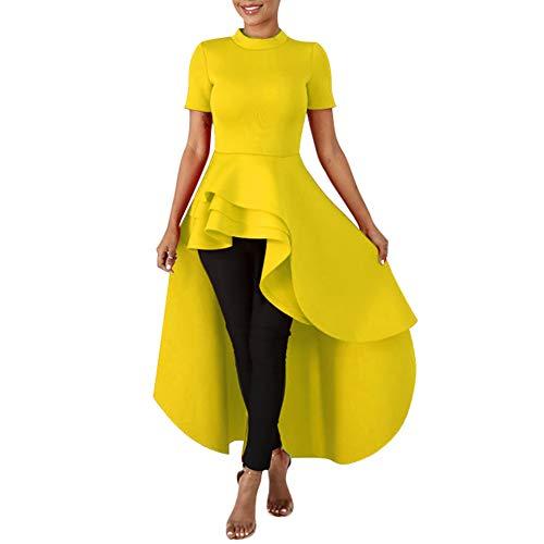 Annystore High Low Tops for Women - Ruffle Short Sleeve Bodycon Peplum Shirt Dresses Yellow ()