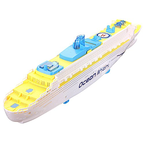 Ocean Liner Ship (diffstyle Ocean Liner Ship Model for Children Kids Flashing LED Sound Electric Cruises Boat Toys (White(19.7