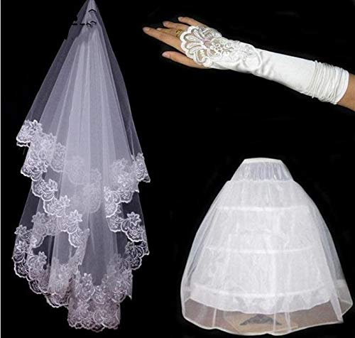 Yarn Embroidery Lace Gloves Panniers Lace Bride Gloves And 3 Rings White Petticoat High-End Three Sets Bride Wedding Accessories WHITE